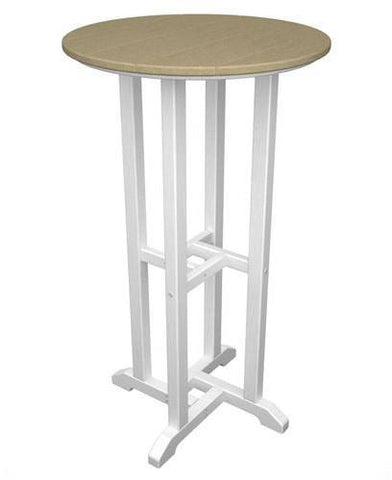 "Polywood RBT224FWHSA Contempo 24"" Round Bar Table White Frame / Sand Finish - PolyFurnitureStore - 1"