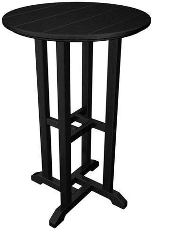 "Polywood RRT124BL Traditional 24"" Round Counter Table Black Finish - PolyFurnitureStore - 1"