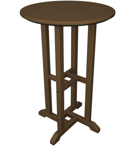 "Polywood RRT124TE Traditional 24"" Round Counter Table Teak Finish - PolyFurnitureStore - 1"