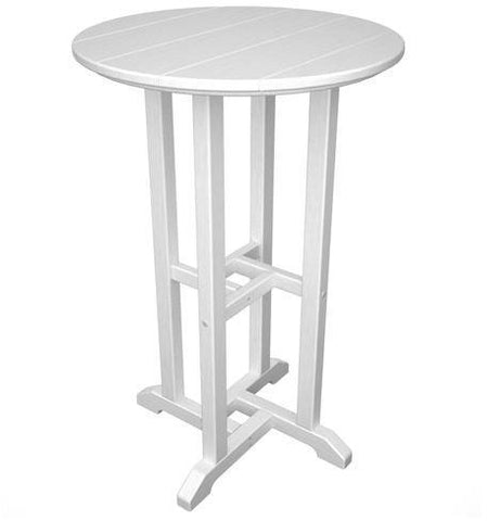 "Polywood RRT124WH Traditional 24"" Round Counter Table White Finish - PolyFurnitureStore - 1"