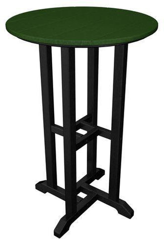 "Polywood RRT224FBLGR Contempo 24"" Round Counter Table Black Frame / Green Finish - PolyFurnitureStore - 1"