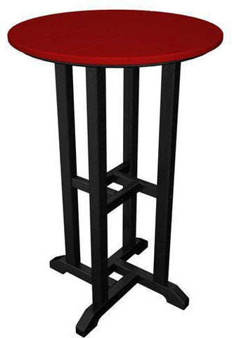 "Polywood RRT224FBLSR Contempo 24"" Round Counter Table Black Frame / Sunset Red Finish - PolyFurnitureStore - 1"
