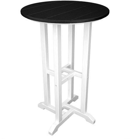"Polywood RRT224FWHBL Contempo 24"" Round Counter Table White Frame / Black Finish - PolyFurnitureStore - 1"