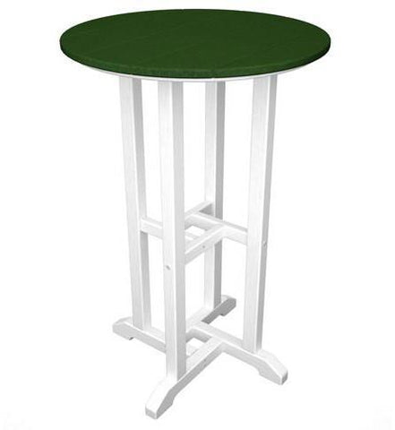 "Polywood RRT224FWHGR Contempo 24"" Round Counter Table White Frame / Green Finish - PolyFurnitureStore - 1"