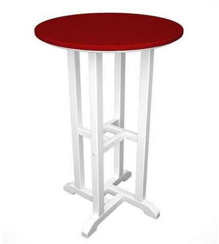 "Polywood RRT224FWHSR Contempo 24"" Round Counter Table White Frame / Sunset Red Finish - PolyFurnitureStore - 1"