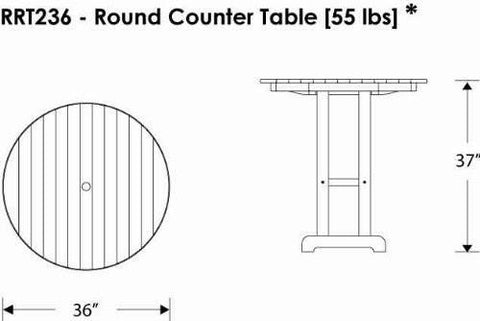 "Polywood RRT236BL Round 36"" Counter Table Black Finish - PolyFurnitureStore - 3"