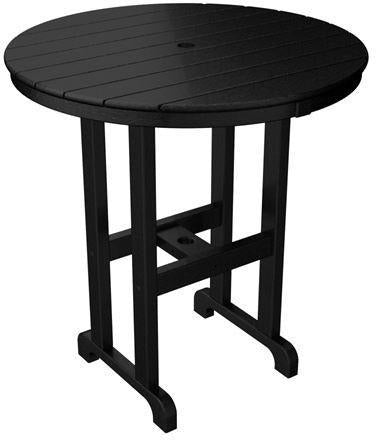 "Polywood RRT236BL Round 36"" Counter Table Black Finish - PolyFurnitureStore - 1"