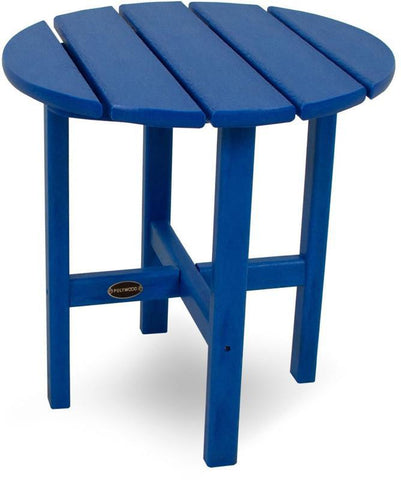 "Polywood RST18PB Round 18"" Side Table Pacific Blue Finish - PolyFurnitureStore - 1"
