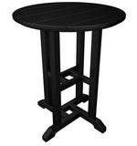 "Polywood RT124BL Traditional 24"" Round Dining Table Black Finish - PolyFurnitureStore - 1"