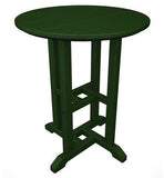 "Polywood RT124GR Traditional 24"" Round Dining Table Green Finish - PolyFurnitureStore - 1"