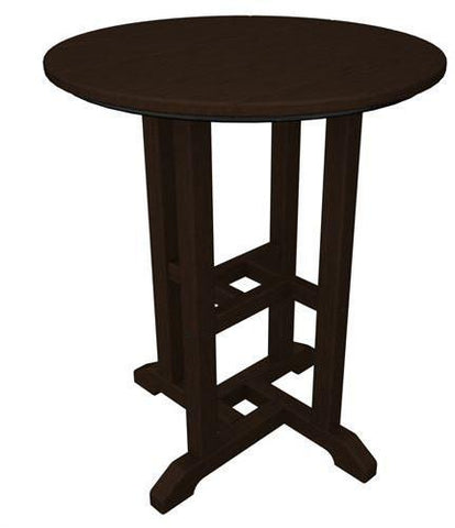 "Polywood RT124MA Traditional 24"" Round Dining Table Mahogany Finish - PolyFurnitureStore - 1"