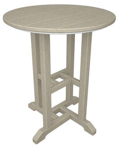 "Polywood RT124SA Traditional 24"" Round Dining Table Sand Finish - PolyFurnitureStore - 1"