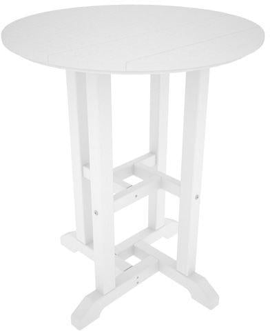 "Polywood RT124WH Traditional 24"" Round Dining Table White Finish - PolyFurnitureStore - 1"