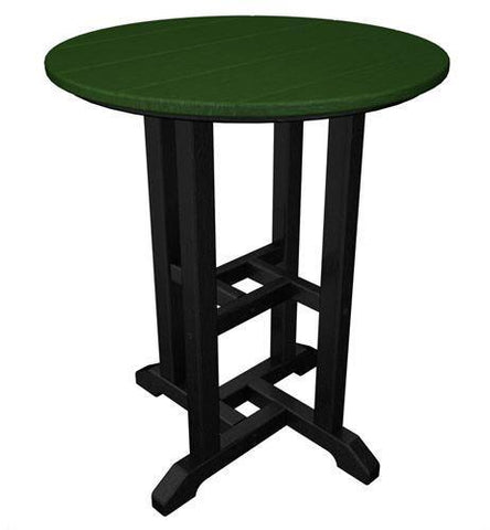 "Polywood RT224FBLGR Contempo 24"" Round Dining Table Black Frame / Green Finish - PolyFurnitureStore"