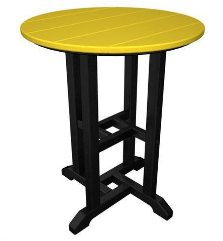 "Polywood RT224FBLLE Contempo 24"" Round Dining Table Black Frame / Lemon Finish - PolyFurnitureStore"