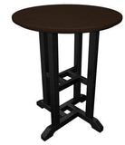 "Polywood RT224FBLMA Contempo 24"" Round Dining Table Black Frame / Mahogany Finish - PolyFurnitureStore - 1"