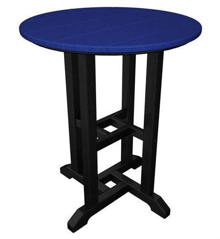 "Polywood RT224FBLPB Contempo 24"" Round Dining Table Black Frame / Pacific Blue Finish - PolyFurnitureStore"