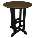 "Polywood RT224FBLTE Contempo 24"" Round Dining Table Black Frame / Teak Finish - PolyFurnitureStore - 1"