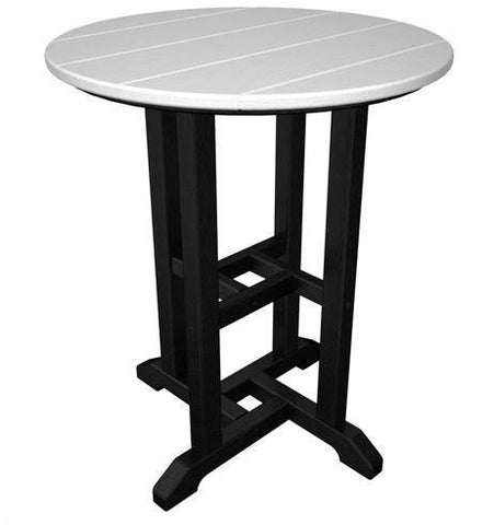 "Polywood RT224FBLWH Contempo 24"" Round Dining Table Black Frame / White Finish - PolyFurnitureStore - 1"