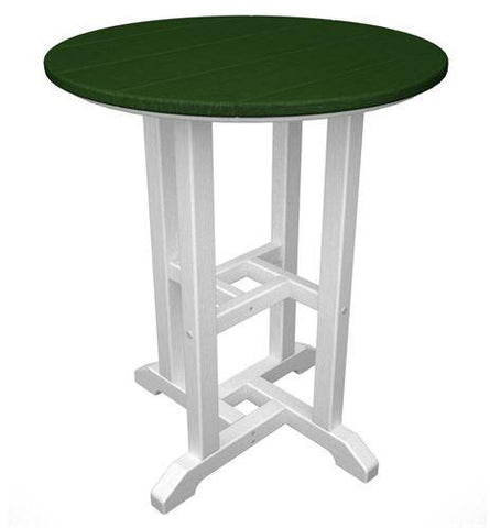 "Polywood RT224FWHGR Contempo 24"" Round Dining Table White Frame / Green Finish - PolyFurnitureStore - 1"