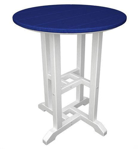 "Polywood RT224FWHPB Contempo 24"" Round Dining Table White Frame / Pacific Blue Finish - PolyFurnitureStore - 1"