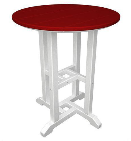 "Polywood RT224FWHSR Contempo 24"" Round Dining Table White Frame / Sunset Red Finish - PolyFurnitureStore - 1"