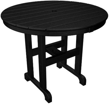 "Polywood RT236BL Round 36"" Dining Table Black Finish - PolyFurnitureStore - 1"