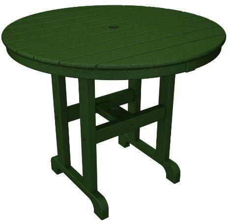 "Polywood RT236GR Round 36"" Dining Table Green Finish - PolyFurnitureStore - 1"