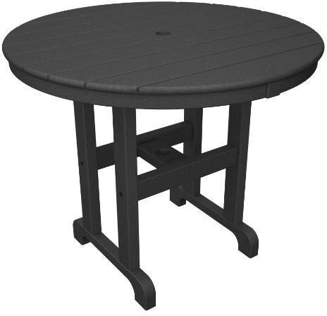 "Polywood RT236GY Round 36"" Dining Table Slate Grey Finish - PolyFurnitureStore - 1"