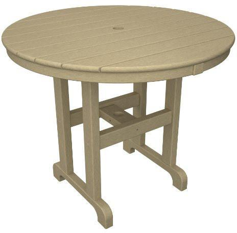 "Polywood RT236SA Round 36"" Dining Table Sand Finish - PolyFurnitureStore - 1"
