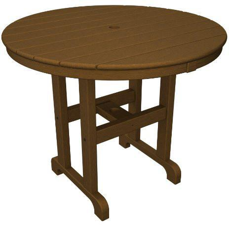 "Polywood RT236TE Round 36"" Dining Table Teak Finish - PolyFurnitureStore - 1"