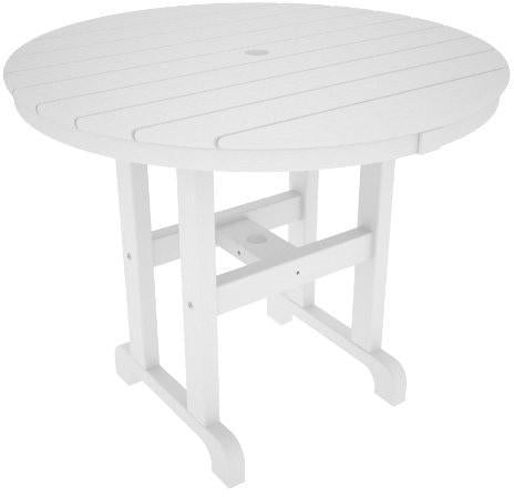 "Polywood RT236WH Round 36"" Dining Table White Finish - PolyFurnitureStore - 1"