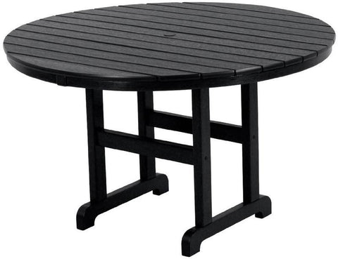 "Polywood RT248BL Round 48"" Dining Table Black Finish - PolyFurnitureStore - 1"
