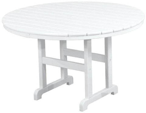 "Polywood RT248WH Round 48"" Dining Table White Finish - PolyFurnitureStore - 1"