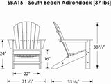 Polywood SBA15PB South Beach Adirondack Pacific Blue Finish - PolyFurnitureStore - 8