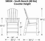 Polywood SBD24GR South Beach Counter Chair Green Finish - PolyFurnitureStore - 3