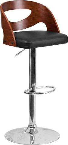 Flash Furniture SD-2168-WAL-GG Walnut Bentwood Adjustable Height Barstool with Black Vinyl Seat and Cutout Back - Peazz.com - 1