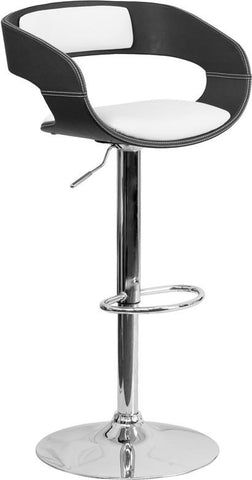 Flash Furniture SD-2207-GG Bentwood Two Tone Black & White Black Vinyl Adjustable Height Barstool - Peazz.com - 1
