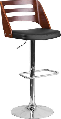 Flash Furniture SD-2702-WAL-GG Walnut Bentwood Adjustable Height Barstool with Black Vinyl Seat and Cutout Back - Peazz.com - 1