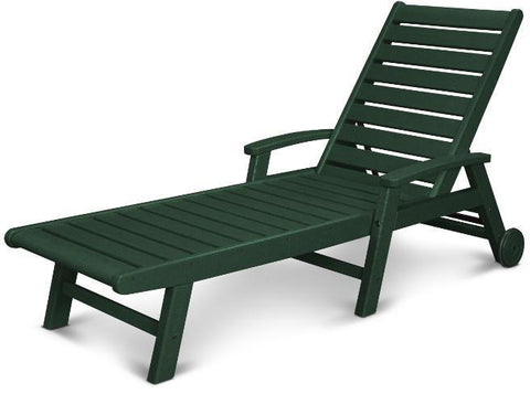 Polywood SW2280GR Signature Wheel Chaise Lounge Green Finish - PolyFurnitureStore