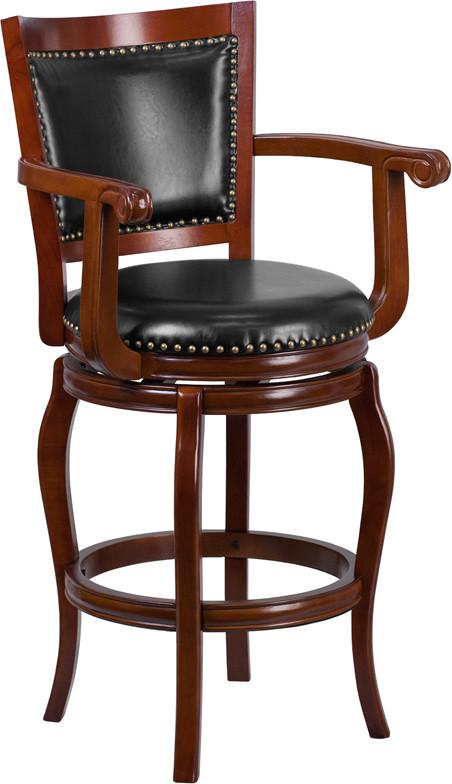 30 High Cherry Wood Barstool with Black Leather Swivel Seat