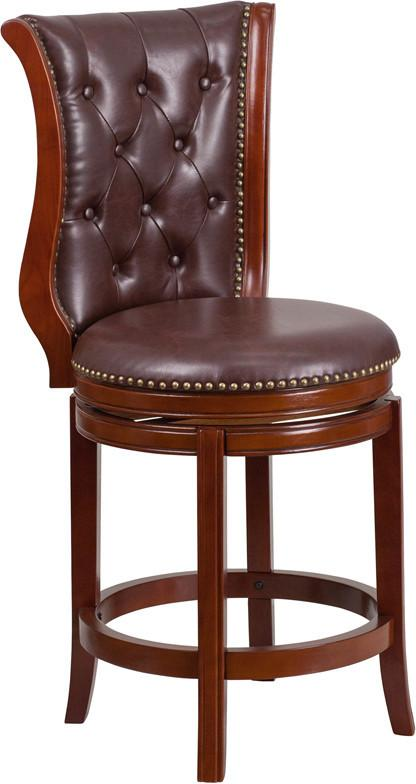 26 High Dark Chestnut Wood Counter Height Stool with Hepatic Leather Swivel Seat