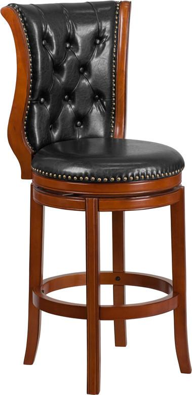 30 High Brandy Wood Barstool with Black Leather Swivel Seat