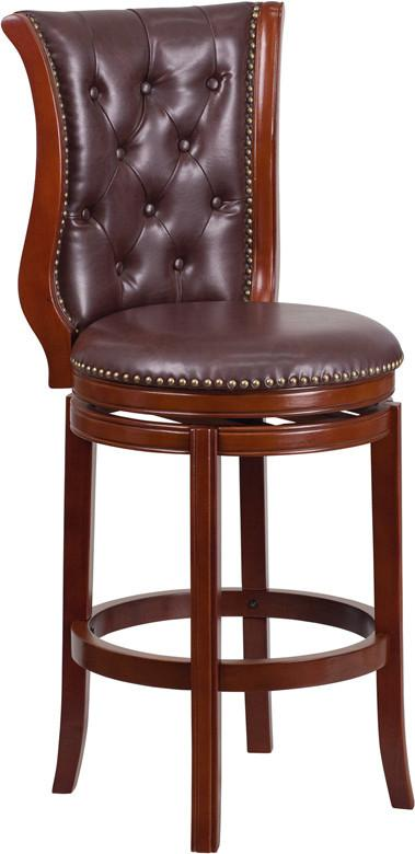 30 High Dark Chestnut Wood Barstool with Hepatic Leather Swivel Seat