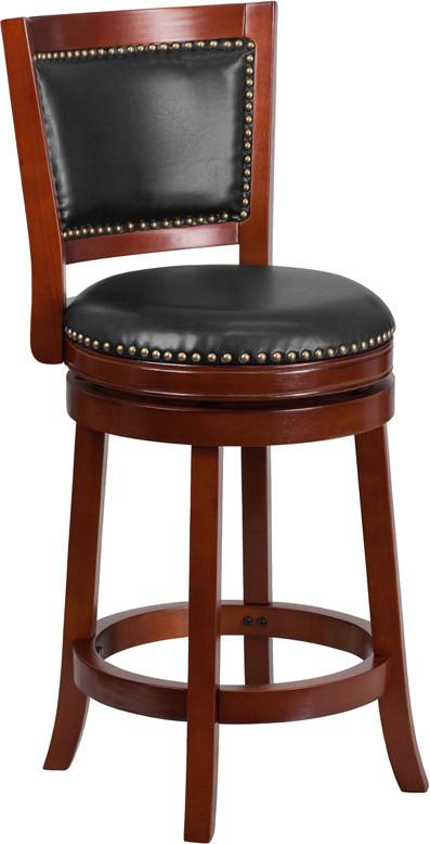 26 High Dark Cherry Wood Counter Height Stool with Walnut Leather Swivel Seat