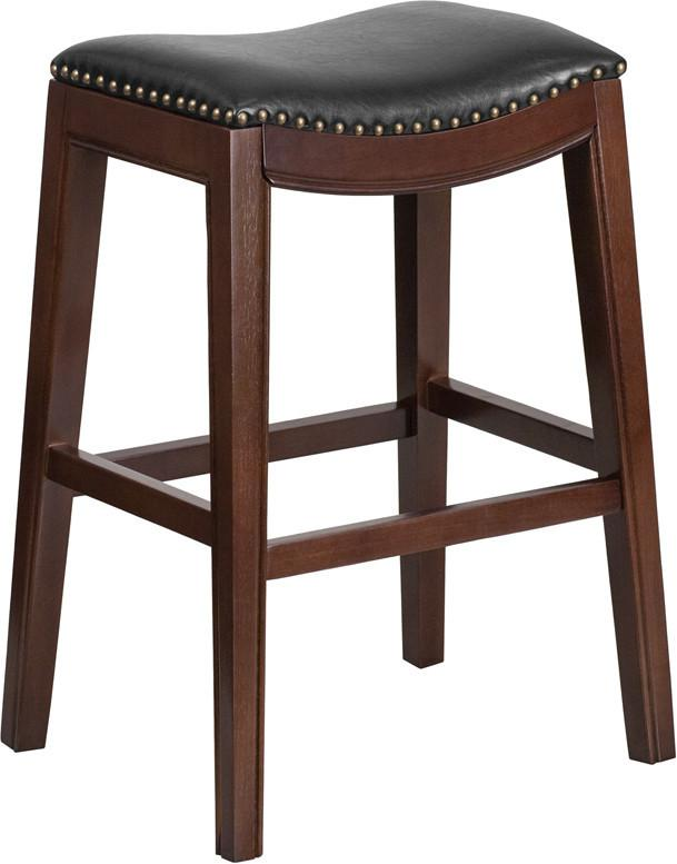 30 High Backless Cappuccino Wood Barstool with Black Leather Seat