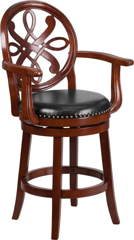 26 High Cherry Wood Counter Height Stool with Arms and Black Leather Swivel Seat