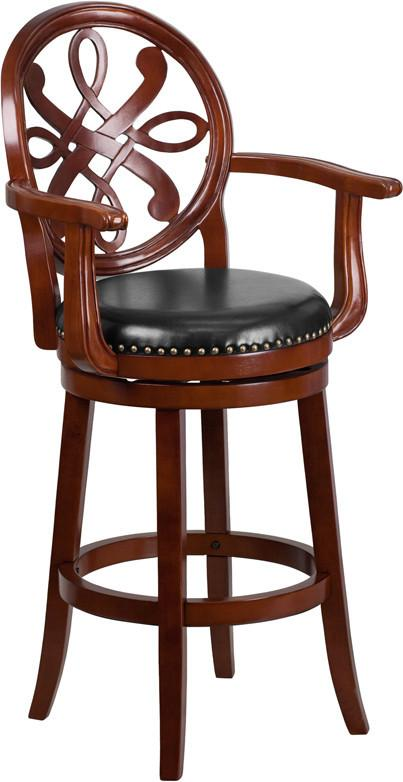 30 High Cherry Wood Barstool with Arms and Black Leather Swivel Seat