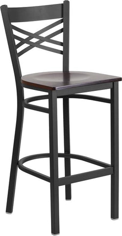 Flash Furniture XU-6F8BXBK-BAR-WALW-GG HERCULES Series Black ''X'' Back Metal Restaurant Barstool - Walnut Wood Seat - Peazz.com