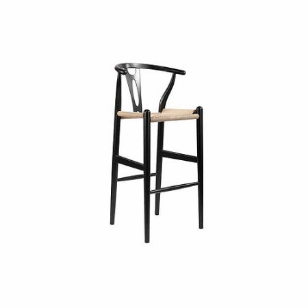 Wholesale Interiors BS-541A-Black Mid-Century Modern Wishbone Stool - Black Wood Y Stool - Each